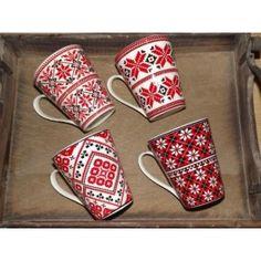 Lot de 4 mugs jacquard rouge