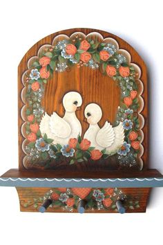 Doves and Florals Shelf with Pegs, Handpainted, Home Decor, Wall Art. $29,95, via Etsy.