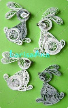 Украшение Квиллинг: Кролики-магнитики! Бумажные полосы Новый год. Фото 1