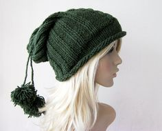 VALENTINE'S Green Beanie Hat Chunky Slouchy Hat with by fairstore, $30.00