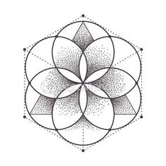 Illustration of Abstract sacred geometry. Geometric symmetric pattern isolated on white. vector art, clipart and stock vectors. Sacred Geometry Patterns, Sacred Geometry Tattoo, Fractal Geometry, Geometric Drawing, Geometric Art, Mandala Tattoo, Mandala Art, Flower Mandala, Seed Of Life