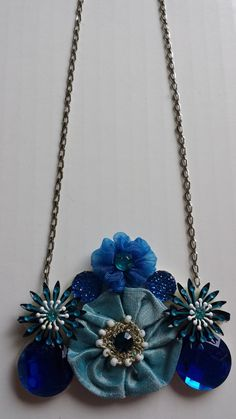 Blue Necklace with Fabric Flowers and by VeronicaJonesJewelry, $25.00