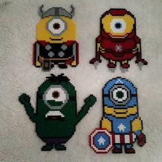 Avengers minions hama beads by nicolebe85