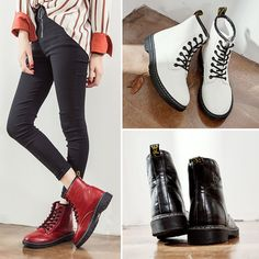 Women Lace Up Military Boots Flats Biker Shoes Martin Combat Ankle Boots Us4-7.5