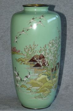 Fine old Japanese Cloisonne Enamel vase - Scene with many Cranes➕More Pins Like This At FOSTERGINGER @ Pinterest ➖ ✖️