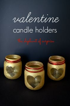 My love for glitter continues with these Valentine Candle Holders from The Elephant of Surprise.