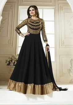 MARVELLOUS BLACK COLOUR DESIGNER PARTY WEAR ANARKALI SALWAR SUIT-57890
