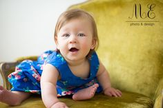 Philadelphia, PA Children's Portrait Photography | Helen 6 months | Blue Dress and Yellow Chair | Baby Girl Portrait Session | Natural and Creative Family Photography #6months #sixmonthsold #babygirl #bundleofjoy #bundleofjoybabyplan