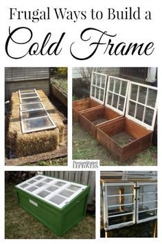 Frugal Ways to Build a Cold Frame - Garden year round with a cold frame! Here ar. Frugal Ways to Build a Cold Frame - Garden year round with a cold frame! Here are some frugal ways to build a cold frame and extend your gardening time. Cold Frame Gardening, Greenhouse Gardening, Organic Gardening, Container Gardening, Gardening Tips, Greenhouse Ideas, Old Window Greenhouse, Pallet Greenhouse, Large Greenhouse