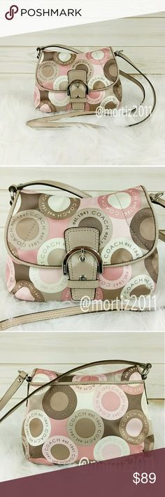 "Coach Snaphead Cross Body Coach Soho pink multicolor logo snaphead flap cross body bag purse. Excellent condition. 8""H × 14""L  (#A221) Coach Bags Crossbody Bags"