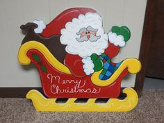 Christmas Sleigh with Santa and a Bag full of Gifts Wood Outdoor Yard Art, Lawn Decoration