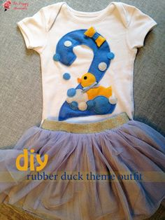 Rubber duck theme outfit, διακοσμημένο με τσόχα