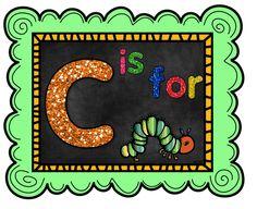 All things CATERPILLAR! Letter C Crafts, Preschool Alphabet, Literacy Activities, Caterpillar, Butterflies, Symbols, Teaching, Lettering, Day Care