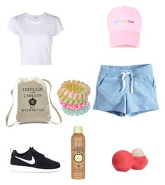 """""""Camp ready"""" by tiffiny99 on Polyvore featuring RE/DONE, NIKE, Eos, Sun Bum and Miss Selfridge"""