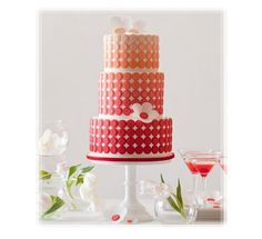 Fun Shades of Red And Orange Polka Dotted Cake