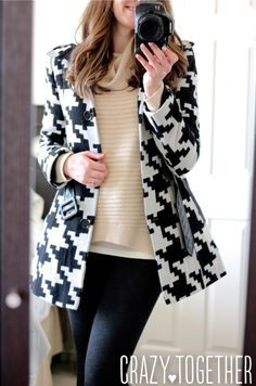 Abbot Crew Neck Elbow Patch Sweater from Stitch Fix with Guess houndstooth coat