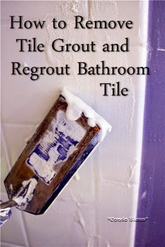 The grout in the Master bathroom shower is chipping. The other grout patches I did as a quick fix are discoloring. I've been putting this jo. Deep Cleaning Tips, House Cleaning Tips, Spring Cleaning, Cleaning Hacks, How To Remove Grout, Remove Tile, Remove Stains, Removing Grout From Tile, Removing Bathroom Tile