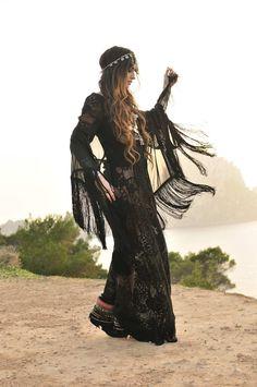 ☮ ßoho ßabe • black lace on the beach