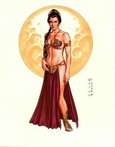 Princess Leia / Slave Leia by Joseph Michael Linsner