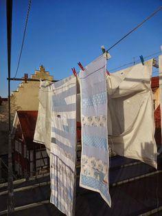 Patchwork Vorhang auf alten Segeln