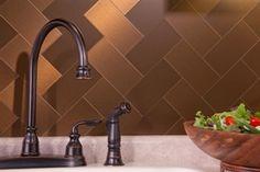 kitchen backsplash, stick on metal tile