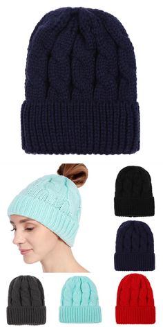 Women hats fashion solid crochet keep warm winter caps wool knitted  horsetail cap female autumn hats 05d92b3ad30f
