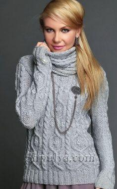 Пуловер с аранами и съемным воротником