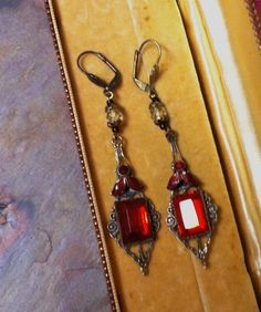 Valentine Jewelry Red Vauxhall Earrings Art Deco Glass Enamel Valentine