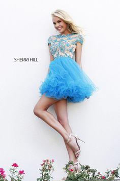 Rochie Sherri Hill 21304 Blue Se inchide cu fermoar