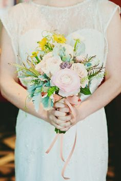 Pastel bridal bouquet | Scarlet O'Neill Photography | see more on: http://burnettsboards.com/2014/06/quirky-fun-loving-restaurant-wedding/