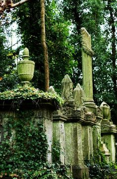 Where Hamlet and Horatio stood while watching Ophelia's funeral. The overgrown foliaged emphasizes how intertwined Hamlet is with every person in the graveyard. Citation: Atlas Obscura. Highgate Cemetery. Digital image. Pinterest. N.p., n.d. Web. 16 Mar. 2016.