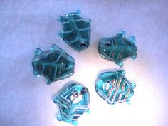 Aqua Glass Fish Beads 20mm 5pc DIY Jewelry by @dragonflyridge, $3.00