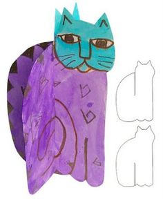 Art Projects for Kids: 3D Laurel Burch Cat.  I want to draw the cat outline and let Lily fill in the rest.  Love this cat.