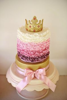 How to eat a Tiara - Pink Ruffle Princess Cake with Edible Gold Tiara