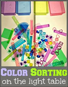 A simple color sorting activity for kids on the light table. Sorting Activities, Sensory Activities, Activities For Kids, Sensory Art, Montessori, Licht Box, Kids Lighting, Lighting Ideas, Table Lighting