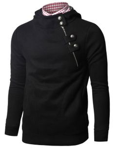 Amazon.com  Doublju Mens Hoodies with Unbalanced Button Zip up  Clothing  Elegante Sport 6b0bd0a477