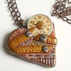 Steampunk Watch Heart Pendant Necklace. Handmade polymer clay heart, steampunk style with upcycled watch face