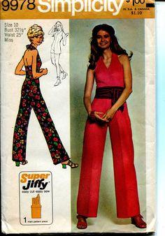 UNCUT Vintage 70s halter top jumpsuit Simplicity Pattern 9978 10 32.5 w 25 H34.5 #Simplicity