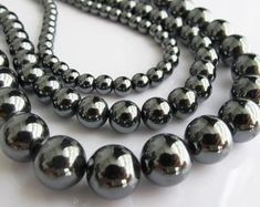 15 Hematite Gemstone Beads Dark Grey 10mm BD128