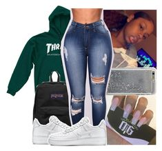 """10/21/17✨"" by theyknowniyaaa on Polyvore featuring Agent 18, JanSport and NIKE"