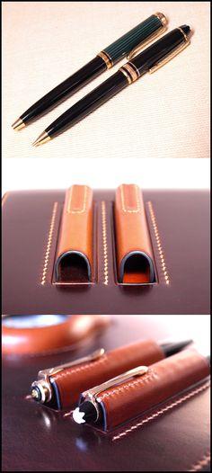 正面のペン挿しに挿す予定でお預かりしていた「モンブラン・マイスターシュトゥック モーツアルトMP」と「ペリカン・スーベレーン 300BP」です。普段使用するペンが鍵代わりになるなんてお洒落でしょう。^^