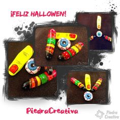 Feliz Halloween con piedras pintadas por PiedraCreativa Feliz Halloween, Ideas Para, Painted Rocks, Creativity