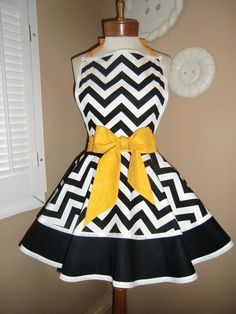 Chevron Print Accented with Golden Yellow Apron With Tiered Skirt