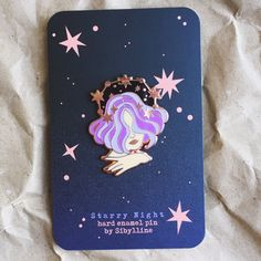 Purple haired galaxy / star / moon girl enamel lapel pin by Sybilline Jacket Pins, Pin Art, Cool Pins, Hard Enamel Pin, Metal Pins, Pin And Patches, Pin Badges, Lapel Pins, Pin Collection