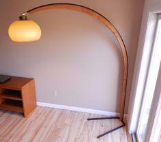 vintage mod era metal wood arc floor lamp arch california ebay