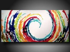 Art original Abstract painting Original Painting 24 X 48 Inches -------Advancement. $319.00, via Etsy.
