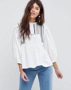 ASOS | ASOS Cotton Victoriana Top with Contrast Lace Detail