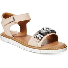 Clarks Artisan Women's Lydie Joelle Flat Sandals ($100) ❤ liked on Polyvore featuring shoes, sandals, nude, nude sandals, flat shoes, clarks sandals, nude flat sandals and sparkle flat shoes