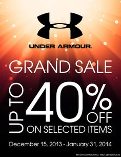 Watch out for Under Armour Grand Sale this Holiday Season. Visit Olympic World Trinoma, Olympic World Alabang Town Center and Olympic Gold Galleria. Mark your calendars and don't miss this great opportunity! Up to 40% off!