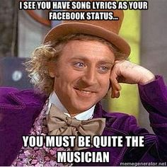 song lyrics as your facebook status, lol